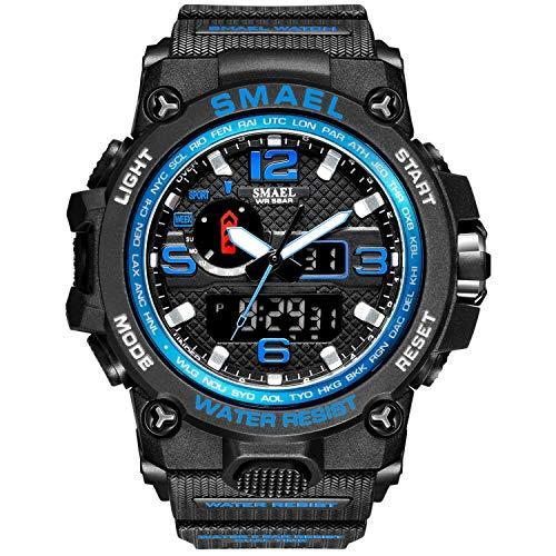 Smael Reloj Militar para Hombre Reloj De Pulsera Impermeable De 50 M Reloj De Cuarzo LED Reloj Deportivo Reloj Deportivo para Hombre (Black Blue)