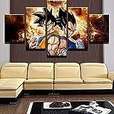 BTCA 5 Cuadros en Lienzo Animación San Goku y Vegeta Impresión HD,Diseño de la Naturaleza,con Marco Creativo 200x100cm