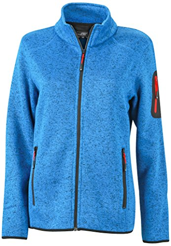 James & Nicholson Damen Jacke Jacke Knitted Fleece Jacket blau (Royal-Melange/Red) Medium