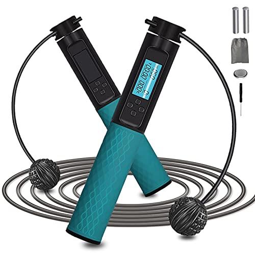 Digitales Springseil für Erwachsene, Fitness mit Kalorienzähler, Seilloses Springseil mit Zähler, gewichtet, professionelles Fitness-Springseil für Damen/Herren/Kinder (grün)