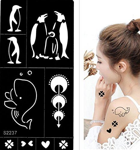 TATTOO Schablone Planeten Pinguin Wal Designs S2237 für Körperbemalung