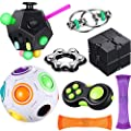 8 Pieces Fidget Toy Set Include 12 Side Fidget Toy Infinity Cube Rainbow Puzzle Ball Fidget Pad Cube Six Roller Chain Flippy Chain Fidget Marble Toy Stress Reducer Anxiety Relieve Handheld Toy from Sumind