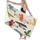 N/A Free Vintage Airplane Clipart Erwachsenen-Mikrofaser-Strandtuch, groß, 78,7 x 137,1 cm, schnell trocknend, sehr saugfähig, vielseitig verwendbar, Pool-Handtuch für Damen und Herren