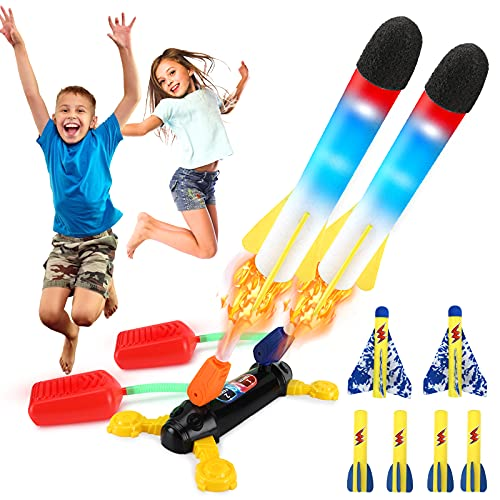 Isheurg Dueling Rocket Launchers for Kids, Sturdy Stomp Launch Toys with 2 LED Foam...