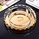 Efecto de corte de vidrio cigarrillo cenicero de vidrio transparente cenicero redondo vidrio de cigarro interior al aire libre escritorio de oficina en casa jardín de pub 150 mm diámetro exterior oro