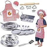 alles-meine.de GmbH 24 TLG. Backset / Kochset - Kinderküche - aus Metall - echte Blech / Backform + Küchenhelfer + Kinderschürze - Backofen - Torte Kuchen Springform Kuchenform T..
