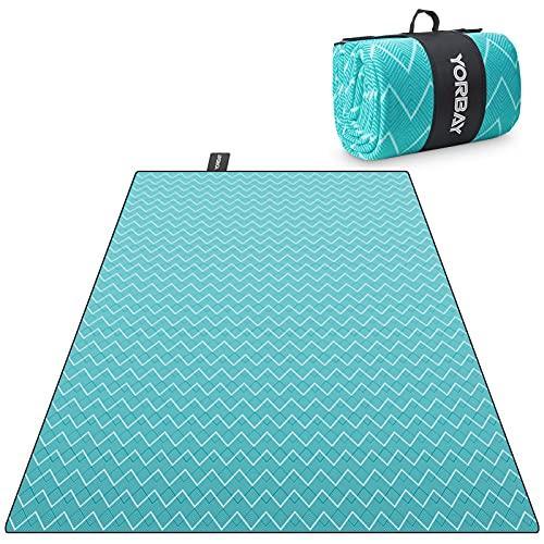 Yorbay Picknickdecke 200 x 300 cm XXL Fleece wasserdicht Decke mit Tragegriff Mehrweg (Welle)