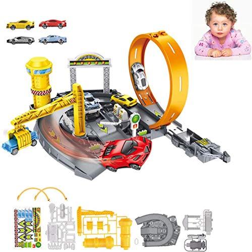 LGRQWER Spielzeug Der Kinder Schienenfahrzeugmontage Lernspielzeug Freie Montage Mit Mini Cars Und Toy Garage, Für Kinder,A