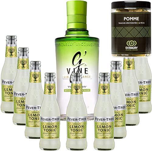 Paquete Gintonic - G'Vine + 9 fiebre siciliana limón Agua Árbol - (70cl + 9 * 20 cl) + Pot 60 trozos de manzana deshidratados