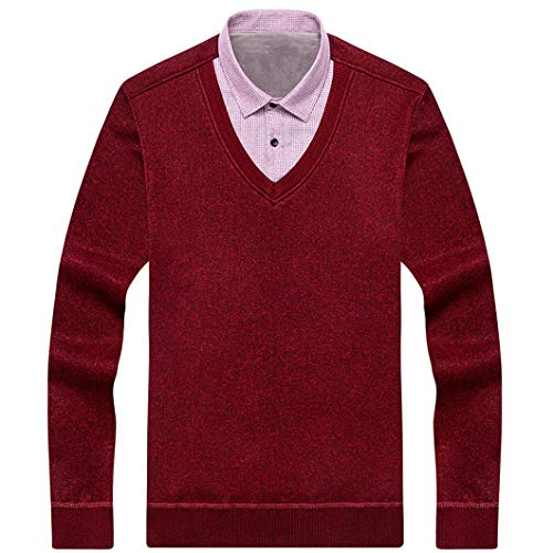 Men Fake Two-piece Shirt Collar Pullover Sweaters
