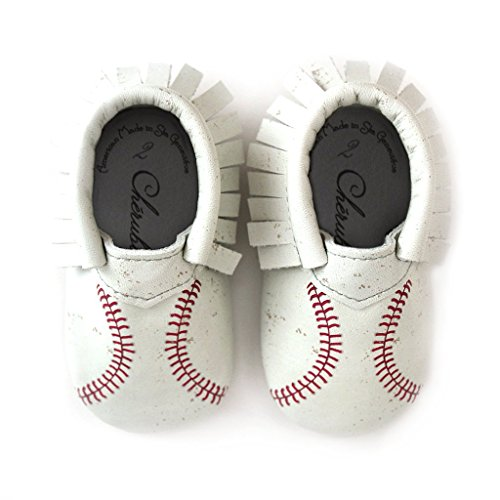 Baseball Moccasin Printed Stitch Design Size 1 3-6 Month 100% American Leather Moccasins for Babies & Toddlers Made in US White