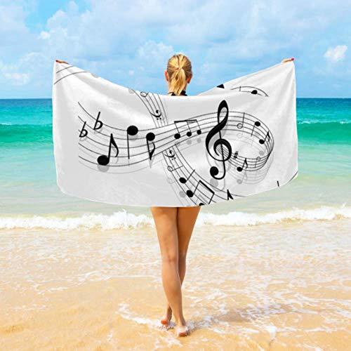 Toalla deportiva para hombres Resumen Piano Music Note Toallas negras para viajar Toalla de playa deportiva Absorbente de agua Súper amigable con la piel Para viajes, playa, natación, baño, camping y