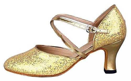 Honeystore Damen's Criss Cross Riemen Metallschnalle Tanzschuhe Gold 39.5 EU - 2
