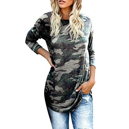 Dasongff dames ronde hals lange mouwen camouflage longshirt casual sportswear sweatshirt lange mouwen pullover stijlvol bont top blouse slim fit