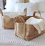 "GooBloo Woven Basket 100% Jute - 10"" x 7"" - Set of 2- Storage Basket for Living Room, Toys, Storage, Towels or Nursery - Wicker Baskets with Handles - Handmade Natural Bathroom Hampers"