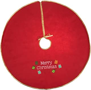"""Clever Creations Gold Edged Merry Christmas Embroidered Tree Skirt Festive Red and White Design 