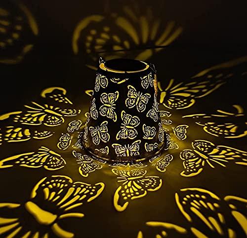 Linterna Solar Luz al Aire Libre Decorativo Metal Mariposa Lámpara Colgante de la grieta para el por por por PATOR Patio Decoración Impermeable LED Potencia Solar Exterior Luz Regalo de jardinería pa