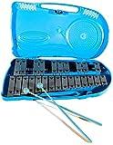 ffalstaff metallofono glockenspiel xilofono con 25 piastre argentate con custodia rigida blu con maniglia incorporata, comoda per trasportarlo ovunque tu voglia - due battenti inclusi con lo strumento