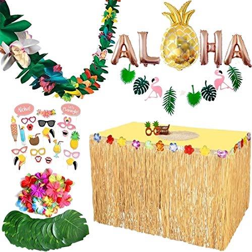 PHYNEDI Hawaii Partydekoration 83er Set Hawaii Luau Tischröcke Aloha Hawaii Party Banner Deko Garten Strand Sommer Tiki Party Dekoration (83tlg)
