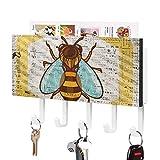 Porte-clés, crochet mural à fixer au mur, insectes, invertébrés, coccinelle, arthropode, pollinisateur, mite, mur d'entrée, support décoratif pour clés avec 5 crochets