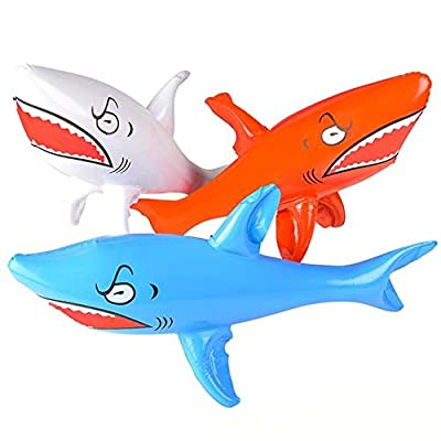 Kicko Inflatable Shark Kids Pool Toy - 3 Pieces Assorted Colors 24 Inch Animal Display - Summer Beach Games, Bath Time, Party Decoration at Home, Water Park, Hotel