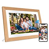 JHZL Digital Picture Frame 10.1 Inch 16GB WiFi Cloud Digital Photo Frame IPS Touch Screen Auto Rotate Motion Sensor Share Photos/Videos Via iPhone & Android Frameo App(Wood Border)(Yellow)