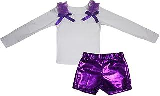 Petitebella Girls' Plain White L/S Cotton Shirt Bling Short Set