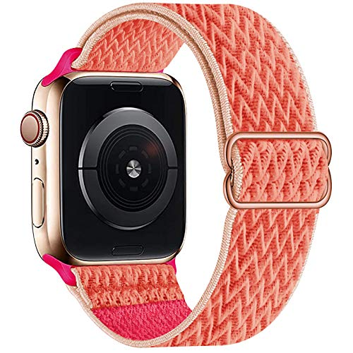 OHCBOOGIE Stretchy Solo Loop Strap Compatible with Apple Watch Bands 38mm 40mm,Adjustable Stretch Braided Elastics Weave Nylon Women Men Wristband Compatible with iWatch Series 6/5/4/3/2/1 SE,Coral