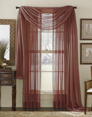 Sheer Voile Curtain Scarf - 216 Inch Length (Burgundy)