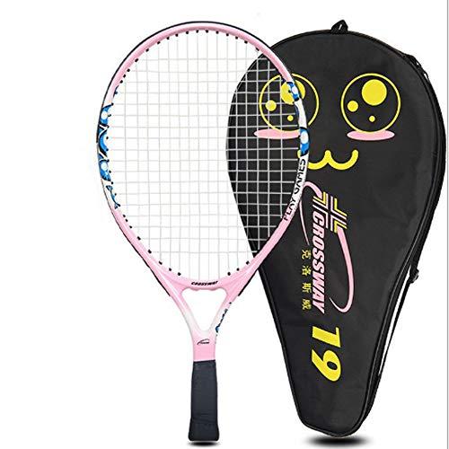 LFZ Raqueta de tenis infantil de 19 pulgadas, rosa y naranja, máquina de entrenamiento individual de tenis, un amortiguador de golpes, pegamento de una mano, una bolsa de raqueta (rosa)