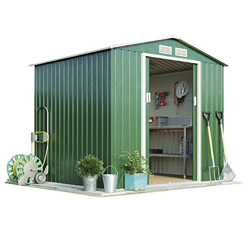 Metal Garden Shed Small Outdoor Storage 7 x 6.3 with Sliding Doors, Weatherproof Apex Roof by Waltons (Standard without Foundation Kit, Dark Green)