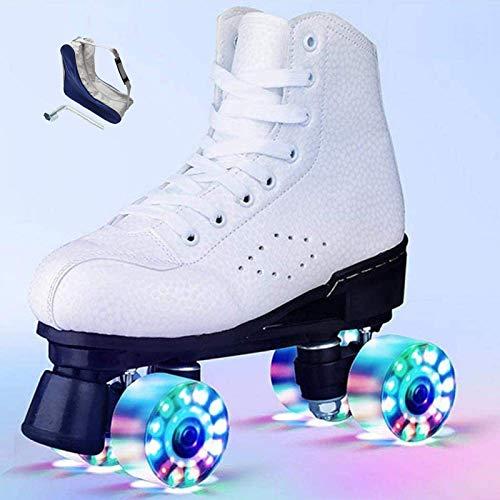 HHMGYH Rollschuhe Damen, Rollerskates Mädchen Roller Skates mit LED-Licht Double Line Skates 4 Wheels Two Line Skating Schuhe für Erwachsene,Weiß,37