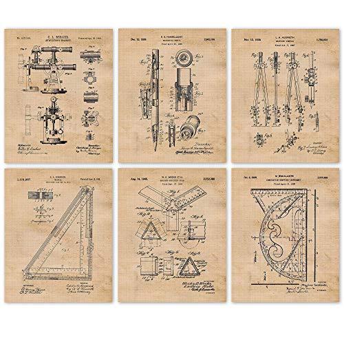 Vintage Architect Patent Poster Prints, Set of 6 (8x10) Unframed Photos, Wall Art Decor Gifts Under 20 for Home, Office, Garage, Man Cave, Studio, College Student, Teacher, Designer & Builder Fan