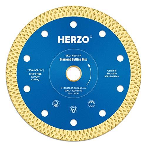 Disco de corte de diamante 115 mm HERZO. Disco Diamante para corte de Porcelanico,Cerámica dura,Azulejos,Mármol,Granito,Piedra caliza