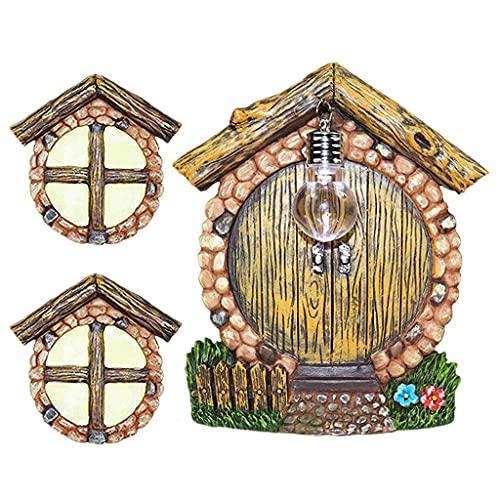 Boji Iluminación de jardín con árbol de madera ornamental de hada Gnome Home en miniatura para ventana y puerta con lámpara de esparcimiento para Yard Art Garden Sculpture Glowing