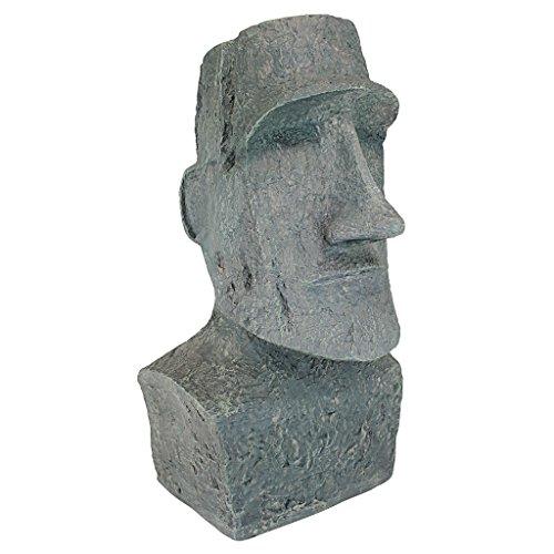 Design Toscano Osterinsel Ahu Akivi Moai Monolith Gartenstatue, Polyresin, steingrau, 33 x 31,8 x 62,2 cm