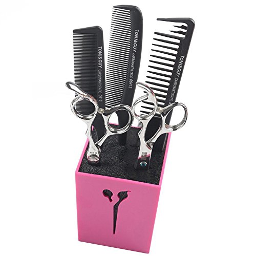 Creation Core Acylic Salon Scissors Combs Clips Storage Holder Box Hairdressing Organizer Rack for Hair Stylist(Rose Red)