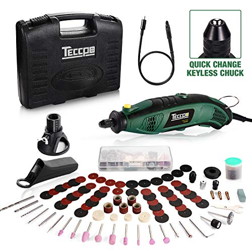 TECCPO Rotary Tool Kit, 6 Variable Speed with Flex shaft, Universal Keyless Chuck, 84 Accessories,...