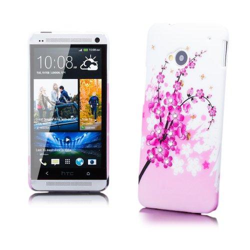 HTC One M7 | iCues Strass Blumen Case Biene | [Display Schutzfolie Inklusive] Motiv Muster Strass Glitzer Glitter Luxus Bling Damen Frauen Mädchen Schutzhülle Hülle Cover Schutz