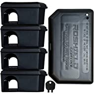 Roshield 5 Mouse Black Bait Boxes - Holds Mice Poison Safely Away from Children & Pets (Empty - No Bait Included)