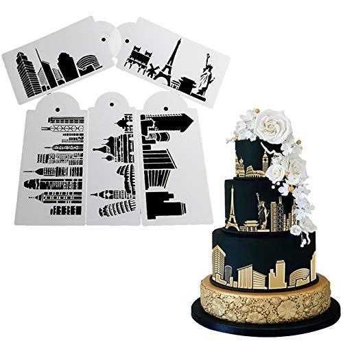 5 moldes de plástico para decoración de tartas con diseño de la torre Eiffel y la estatua de la Libertad para fondant, herramientas de hornear, café en espray y azúcar en polvo, molde de PVC