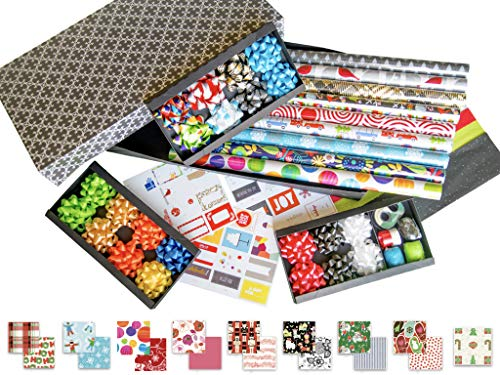 Premium Christmas Gift Wrapping Paper Assortment Variety Pack Box for Holidays and Birthday All Occasions Wedding - Includes Paper Rolls Bows Ribbons USA Made by Royal Needham (9-Roll All Occasions)