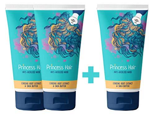 Princess hair – Mascarilla contra la caída del cabello - Complejo Maxi-Growth - Tratamiento capilar - Mascarilla fácil para el cabello 2+1