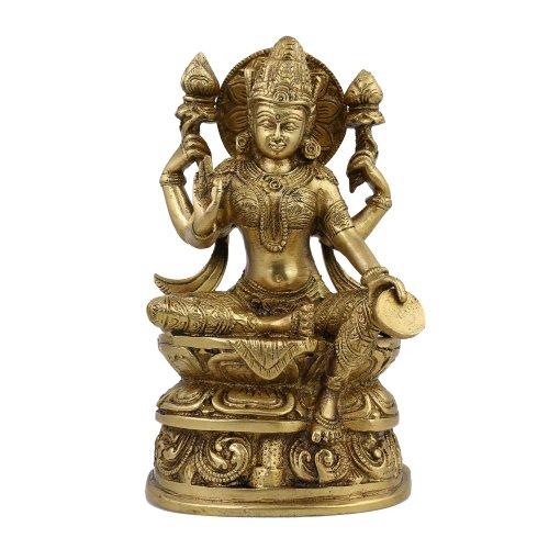 Shalinindia Lakshmi Idol Göttin Hinduismus Belief Statue und Skulptur; Messing; 12,1x 6,3x 20,3cm