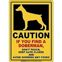 CAUTION IF YOU FIND マグネットサイン:ドーベルマン/立ち耳(スモール)イエロー 注意 DON'T TOUCH 触れない/触らない KEEP GATE CLOSED ドアを閉める 英語 防犯 アメリカンマグネットステッカー