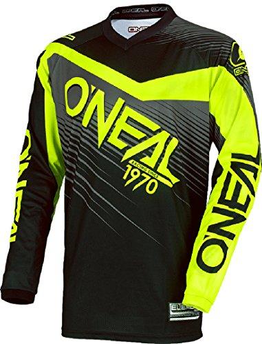 O\'NEAL   Motocross-Jersey Langarm   MX Enduro   Gepolsterter Ellbogenschutz, V-Ausschnitt, atmungsaktiv   Element Jersey Racewear   Erwachsene   Schwarz Hi-Viz   Größe M