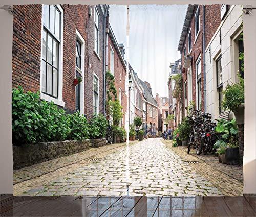 ABAKUHAUS Stad Oude Huizen Gordijnen, Old City Haarlem, Woonkamer Slaapkamer Raamgordijnen 2-delige set, 280 x 245 cm, Veelkleurig