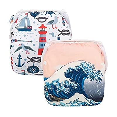 ALVABABY Baby Swim Diapers 2pcs One Size Reuseable Washable & Adjustable for Swimming Lesson Baby Shower Gifts DYK56-59