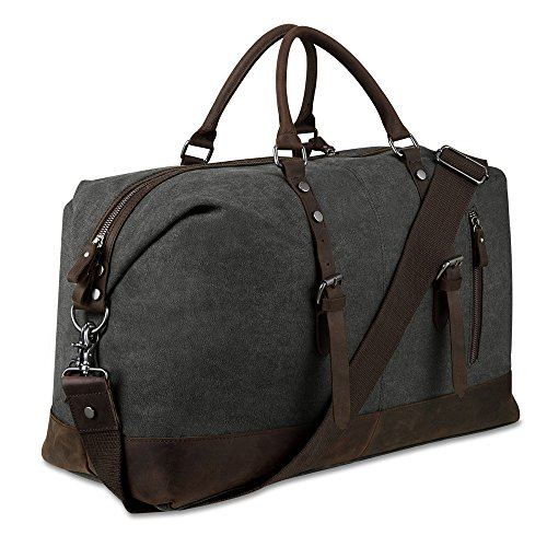 BLUBOON Canvas Overnight Bag Travel Duffel Genuine Leather for Men and Women Weekender Tote (Dark Grey)