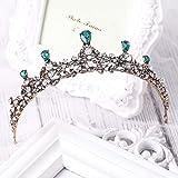 Simsly - coroncina nuziale per capelli, vintage, diadema regale con strass di cristallo, a decoro floreale, cerchietto per donne e ragazze (oro) HG-26